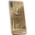 gold plated iPhone X with Vladimir Putin portait on the case