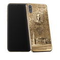 golden iPhone X with Putin portratit