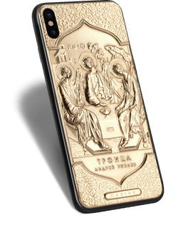 Christian golden iPhone with Andrei Rublev's Trinity icon