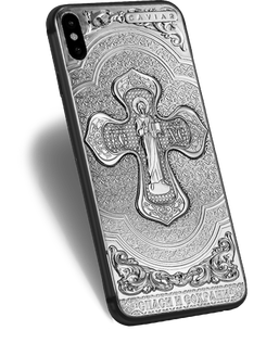 "iPhone X with prayer ""Save and Protect"" on the case"