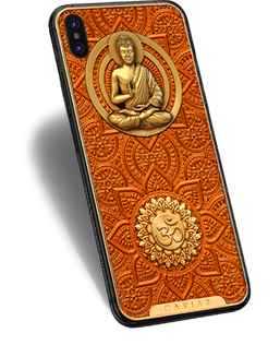 iPhone X with image of Gautama Buddha on the case