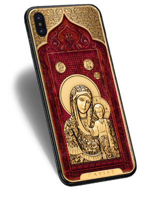 Christian-themed iPhone X with Mother of God icon on the case