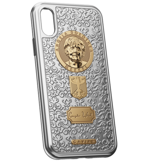 iPhone X Angela Merkel golden case
