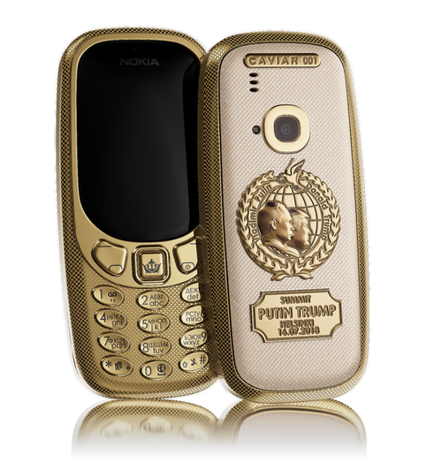 golden Nokia 3310 Putin-Trump Peacemakers by Caviar